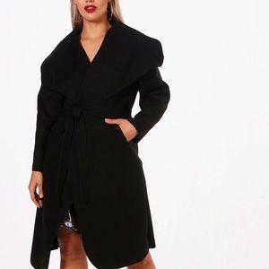 Boohoo Lydia Wool Look Wrap Waterfall Coat